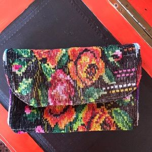 Floral Multicolored Needlepoint Foldover Clutch